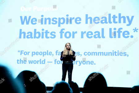 Weight Watchers President and Chief Executive Officer Mindy Grossman unveils the new company purpose: to inspire healthy habits for real life ? for people, families, communities, the world ? for everyone ? at a global employee event, at Alice Tully Hall, Lincoln Center in New York