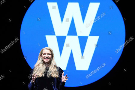 IMAGE DISTRIBUTED FOR WEIGHT WATCHERS - Weight Watchers President and Chief Executive Officer Mindy Grossman unveils the new company purpose: to inspire healthy habits for real life - for people, families, communities, the world - for everyone - at a global employee event at, at Alice Tully Hall, Lincoln Center in New York