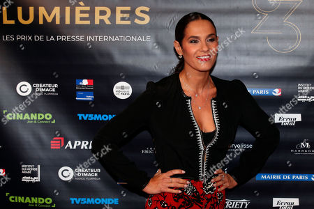 """Elisa Tovati poses during a photocall prior to the 23rd Lumieres awards ceremony at the """"Institut du Monde Arabe"""" in Paris, . The Academie des Lumières, is a group of 200 foreign journalists who reunite each year in Paris to vote for the best French films"""