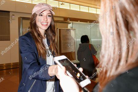 Editorial photo of Celine Farach at Tokyo International Airport, Japan - 09 Feb 2018