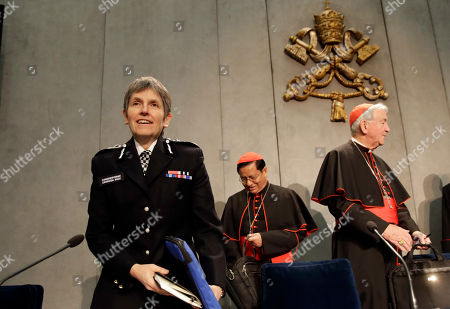 From left, Cressida Rose Dick, Commissioner of the Metropolitan Police in London, Cardinal Charles Maung Bo and cardinal Vincent Nichols arrive for a press conference following the Santa Marta Group reunion, a conference promoted by Pope Francis between police chiefs and bishops aimed to fight against human trafficking and modern slavery, at the Vatican