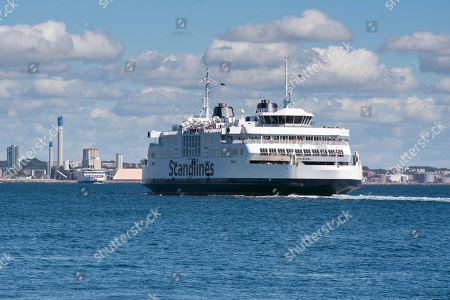 Tycho Brahe ferry of shipping company Scandlines, on the Elsinore-Helsingborg route between Denmark and Sweden via the Oresund strait, Elsinore, Hovedstaden Region, Denmark