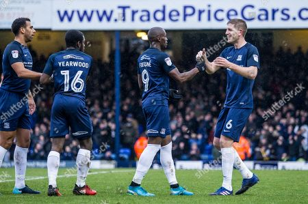 MARC-ANTOINE FORTUNE CELEBRATES HIS GOAL WITH FELLOW GOALSCORER MICHAEL TURNER. SOUTHEND UNITED FC