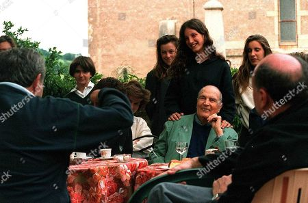 Francois Mitterrand with children Pascale, Justine and Gilbert