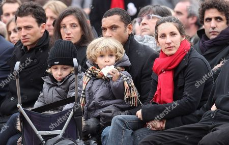 Pascale and Justine Mitterrand and their children