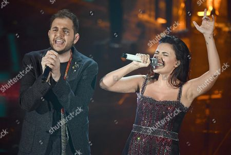Italian singers Renzo Rubino and Serena Rossi (R)perform on stage during the 68th Sanremo Italian Song Festival at the Ariston theatre in Sanremo, Italy, 09 February 2018. The festival will run from 06 to 10 February.