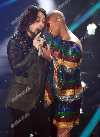 Front-man Francesco Sarcina (L) of the Italian band Le Vibrazioni and British singer Skin perform on stage during the 68th Sanremo Italian Song Festival at the Ariston theatre in Sanremo, Italy, 09 February 2018. The festival will run from 06 to 10 February.