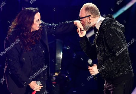 Italian singer Mario Biondi (R) with Bazilian musicians Ana Carolina (L) perform on stage during the 68th Sanremo Italian Song Festival at the Ariston theatre in Sanremo, Italy, 09 February 2018.  The festival will run from 06 to 10 February.