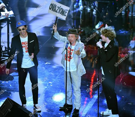 Italian band Lo Stato Sociale with Italian actor Paolo Rossi and Il Piccolo Coro dell'Antoniano perform on stage during the 68th Sanremo Italian Song Festival at the Ariston theatre in Sanremo, Italy, 09 February 2018. The festival will run from 06 to 10 February.