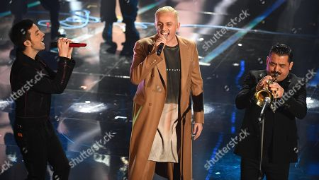 Italian singers Diodato and Roy Paci with Ghemon perform on stage during the 68th Sanremo Italian Song Festival at the Ariston theatre in Sanremo, Italy, 09 February 2018. The 68th edition of the television song contest runs from 06 to 10 February.