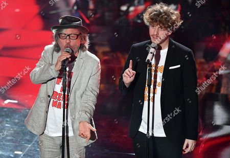 Italian band Lo Stato Sociale with Italian actor Paolo Rossi (L) perform on stage during the 68th Sanremo Italian Song Festival at the Ariston theatre in Sanremo, Italy, 09 February 2018. The 68th edition of the television song contest runs from 06 to 10 February.