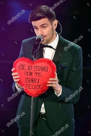 Italian singer Lorenzo Baglioni performs on stage during the 68th Sanremo Italian Song Festival at the Ariston theatre in Sanremo, Italy, 09 February 2018.  The festival will run from 06 to 10 February.