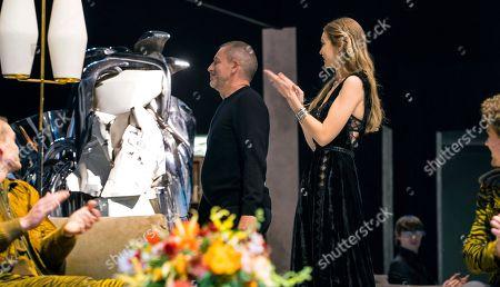 Tomas Maier, Gigi Hadid. Bottega Veneta Creative Director, Tomas Maier, center, and model Gigi Hadid appear at the end of a show of the Bottega Veneta collection during Fashion Week in New York