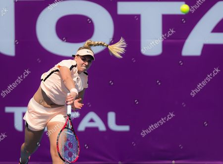 Sabine Lisicki of Germany in action at the 2018 Qatar Total Open WTA Premier 5 tennis tournament