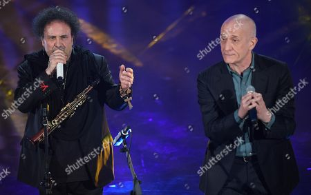 Italian singers Enzo Avitabile (L) and Peppe Servillo perform on stage during the 68th Sanremo Italian Song Festival at the Ariston theatre in Sanremo, Italy, 10 February 2018. The 68th edition of the television song contest runs from 06 to 10 February.