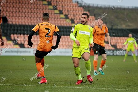 No way through for Notts County's Mason Bennett (28) during the EFL Sky Bet League 2 match between Barnet and Notts County at The Hive Stadium, London. Picture by Nigel Cole