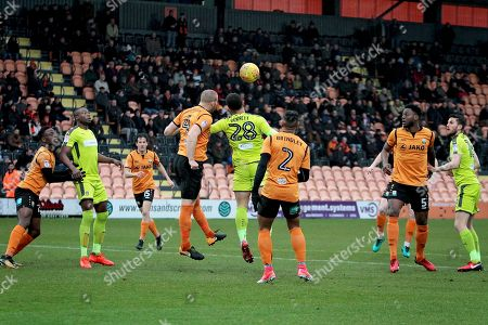 Barnet defender Charlie Clough beats Notts County's Mason Bennett (28) to this header during the EFL Sky Bet League 2 match between Barnet and Notts County at The Hive Stadium, London. Picture by Nigel Cole