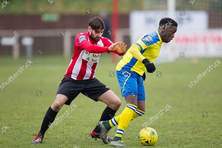 Rakim Richards of Haringey Borough under pressure from Jamie Hursit of AFC Hornchurch during AFC Hornchurch vs Haringey Borough, Bostik League Division 1 North Football at Hornchurch Stadium on 10th February 2018