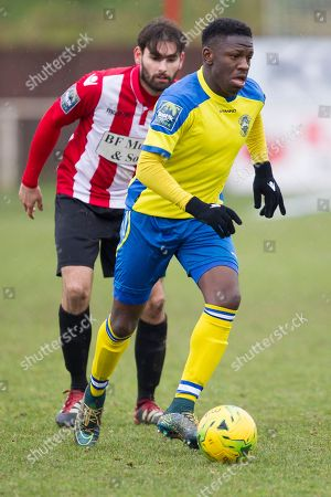 Rakim Richards of Haringey Borough is tightly marshalled by Jamie Hursit of AFC Hornchurch during AFC Hornchurch vs Haringey Borough, Bostik League Division 1 North Football at Hornchurch Stadium on 10th February 2018