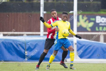 Rakim Richards of Haringey Borough looks to get the ball under control with pressure from Sean Roberts of AFC Hornchurch during AFC Hornchurch vs Haringey Borough, Bostik League Division 1 North Football at Hornchurch Stadium on 10th February 2018