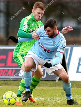 Ballymena United vs Cliftonville. Ballymena's Jonathan McMurray and Cliftonville's Stephen Garrett