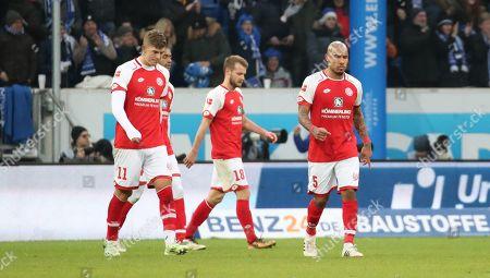 Germany, Sinsheim, 10.02.2018, Football, Bundesliga,  2017/2018, TSG 1899 Hoffenheim - 1. FSV Mainz 05:  Emil Berggreen, Daniel Brosinski, Nigel de Jong ( 1. FSV Mainz 05).