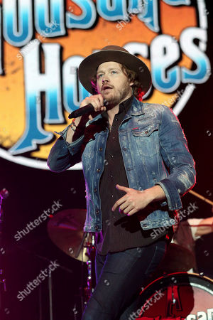Michael Hobby with A Thousand Horses performs as the opener for Kid Rock at the Infinite Energy Arena, in Atlanta
