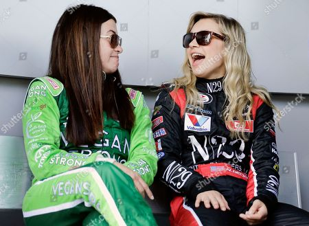 Leilani Munter, Natalie Decker. Leilani Munter, left, and pole sitter Natalie Decker, right, share a laugh before the start of the ARCA auto race at Daytona International Speedway, in Daytona Beach, Fla
