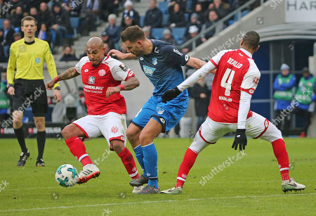 Football - 1. Bundesliga - 10.02.2018, 1899 HOFFENHEIM vs. 1. FSV MAINZ 05,  Nigel de Jong (Mainz), Adam Szalai (1899), Abdou Diallo (Mainz),