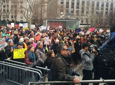 A large crowd gathers in New York, in support of Ravi Ragbir, an immigration activist who is fighting deportation. Ragbir, who's from Trinidad and Tobago, was facing deportation on Saturday until a judge ruled Friday that he could stay in the country while a lawsuit filed on his behalf is argued