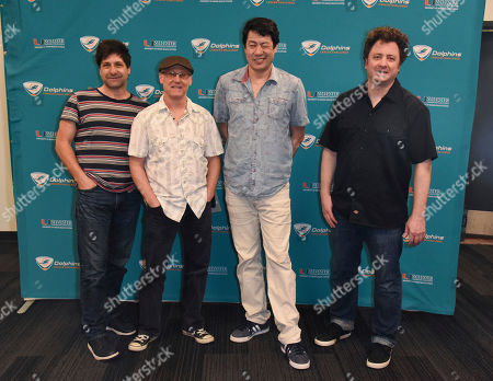 Stock Image of Brian Nevin, Rob Squires, Todd Mohr, Jeremy Lawton. Brian Nevin, from left, Rob Squires, Todd Mohr and Jeremy Lawton of Big Head Todd and The Monsters attend a press event prior to their concert at the Dolphins Cancer Challenge VIII on at Hard Rock Stadium in Miami Gardens, Fla