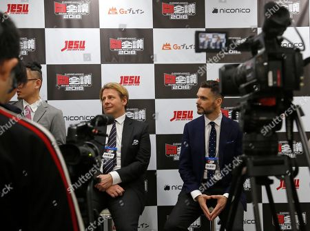 Stock Picture of Chester King, center left, chief executive of British Esports Association and eGames, who is leading the push for esports to become a legitimate sport, speaks to reporters at an Esports event at Makuhari Messe hall in Chiba, near Tokyo. Although Japan is the home of game giants like Nintendo, Sony and Bandai Namco, massive game fans as well as individual star game players, it's surprisingly behind the rest of the world in esports. But with talk that elite computer gaming may become an official Olympic sport, Japan wants to catch up. This weekend, a major esports event is taking place in a Tokyo suburb after Japan Esports Union was set up this month to promote esports, issue licenses to players and standardize rules