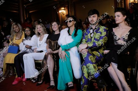(L-R) Laverne Cox, Whoopi Goldberg, Meg Ryan, Molly Shannon, Cardi B, Brad Walsh and Jaimie Alexander attend the Christian Siriano fashion show at New York Fashion Week Fall 2018 in New York, New York, USA, 10 February 2018. The Fall 2018 collections are presented from 08 to 14 February.