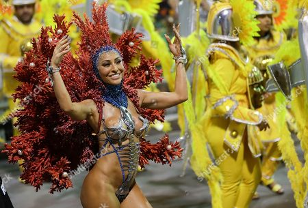 Brazilian model and comedian Sabrina Sato from the Gavioes da Fiel samba school performs during a carnival parade in Sao Paulo, Brazil