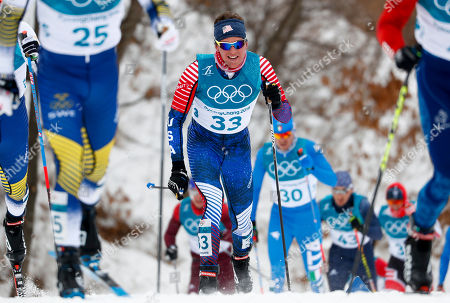 Scott Patterson, of the United States, competes during the men's 15km/15km skiathlon cross-country skiing competition at the 2018 Winter Olympics in Pyeongchang, South Korea