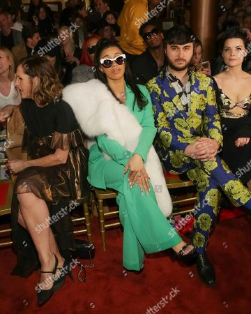 Molly Shannon, from left, Cardi B., Brad Walsh and Jaimie Alexander attend the Christian Siriano 2018 Fall/Winter Runway Show during New York Fashion Week at The Grand Lodge on in New York
