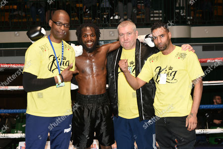 Stock Image of Jeffrey Ofori (black shorts) defeats Jamie Quinn during a Boxing Show at York Hall on 10th February 2018