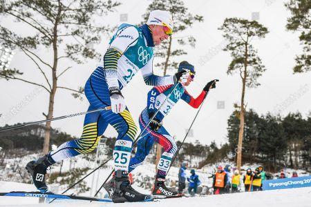 Jens Burman ofSweden and Scott Patterson ofUnited States at Men's 15km + 15km Skiathlon at olympics at Alpensia cross country stadium, Pyeongchang, South Korea