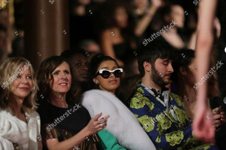 Meg Ryan, Molly Shannon, Cardi B., Brad Walsh. Meg Ryan, from left, Molly Shannon, Cardi B., and Brad Walsh attend the Christian Siriano 2018 Fall/Winter Runway Show during New York Fashion Week at The Grand Lodge on in New York