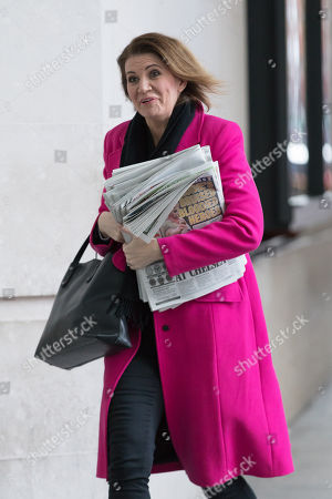 Julia Hartley-Brewer arrives at BBC Broadcasting House to appear on the Andrew Marr Show.