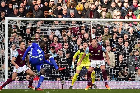 Stock Image of Birmingham City midfielder Cheikh N'Doye (17) shoots just over the bar during the EFL Sky Bet Championship match between Aston Villa and Birmingham City at Villa Park, Birmingham. Picture by Dennis Goodwin