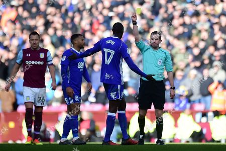 Birmingham City midfielder Cheikh N'Doye (17) shown a yellow card, booked during the EFL Sky Bet Championship match between Aston Villa and Birmingham City at Villa Park, Birmingham. Picture by Dennis Goodwin