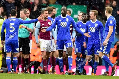 Birmingham City midfielder Cheikh N'Doye (17) protests his innocence after his second yellow card results in a red card during the EFL Sky Bet Championship match between Aston Villa and Birmingham City at Villa Park, Birmingham. Picture by Dennis Goodwin