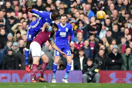 Birmingham City midfielder Cheikh N'Doye (17) heads the ball during the EFL Sky Bet Championship match between Aston Villa and Birmingham City at Villa Park, Birmingham. Picture by Dennis Goodwin