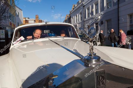 Jason Lake in the 1960 white Rolls Royce Silver Cloud II owned by Diana Dors