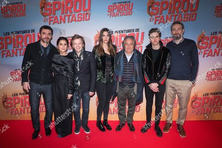 (L-R) Director Alexandre Coffre, Geraldine Nakache, Alex Lutz, Charlotte Gabris, Christian Clavier, Thomas Soliveres and Vincent Desagnat