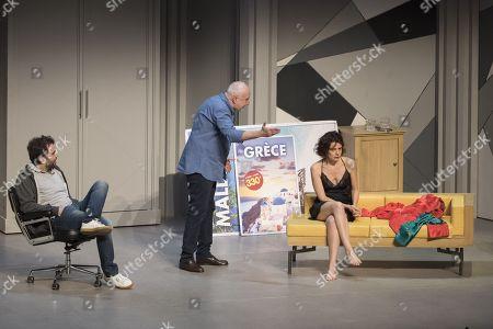 (G-D) Sebastien Castro, Francois Berleand, Constance Dolle