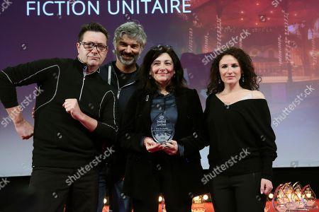 Winners of the award 'Prix du Public de la meilleure Fiction Unitaire' for the film 'Parole contre Parole': Didier Bivel, Francois Vincentelli, Sophie Deloche and Elsa Lunghini