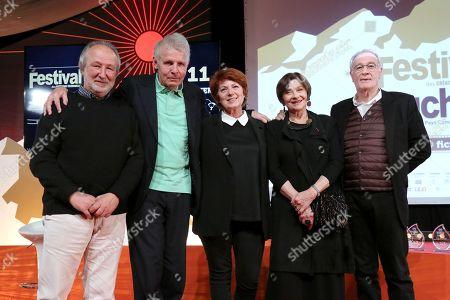 Stock Picture of Former Jury Presidents of the Luchon Festival: Jerome Clement, Patrick Poivre d'Arvor, Veronique Genest, Macha Meril et Bernard Lecoq