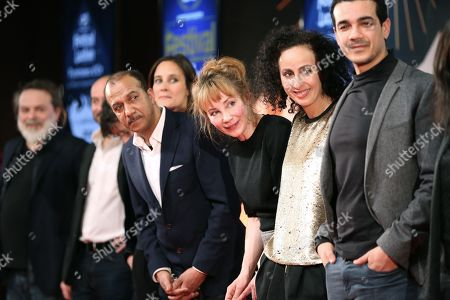 Members of the Jury Pascal Legitimus, Julie De Bona and Julie Depardieu with Fouzia Kechkech and Samir Chafai (Best Short Program with 'A Musee Vous, A musee Moi')